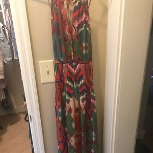Anthropologie Tropical Colorful Maxi Dress Size 4